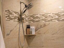 Travertine tile shower surround