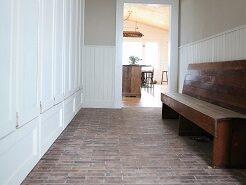 Brick-look tile flooring