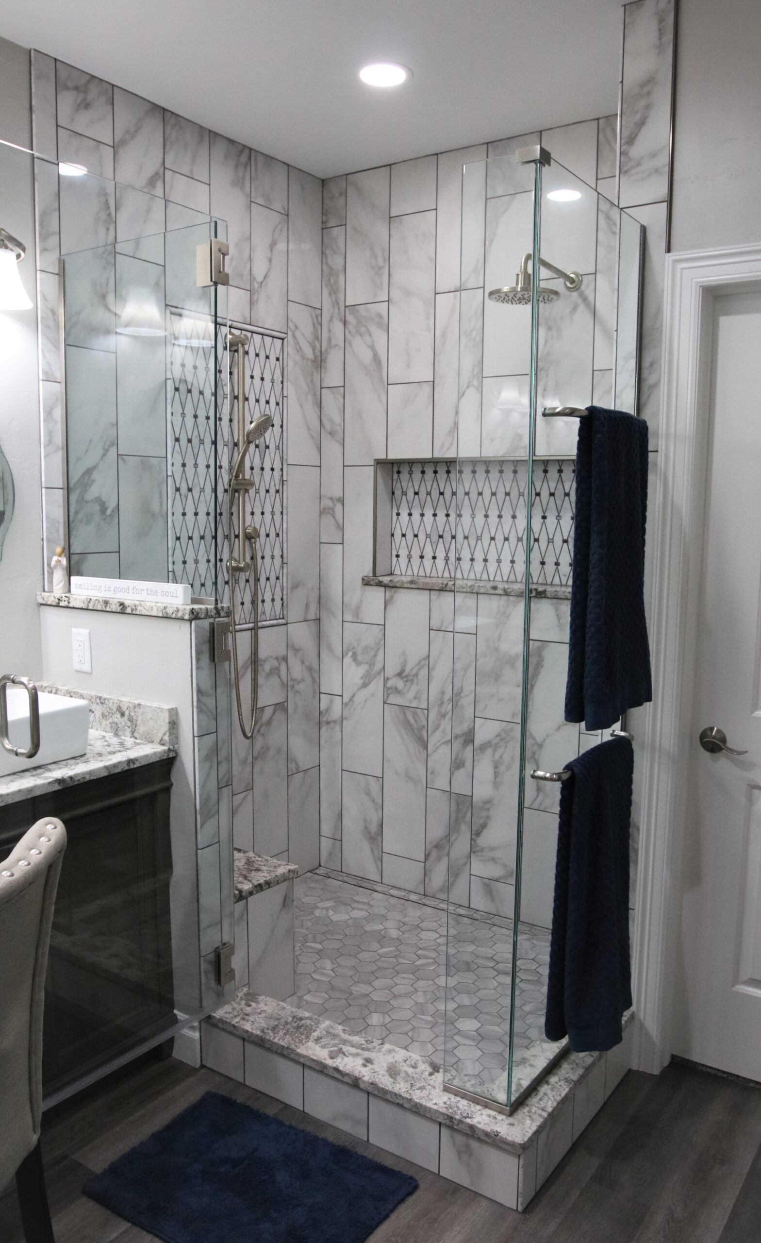 Marble Mosaic Tile Shower Remodel